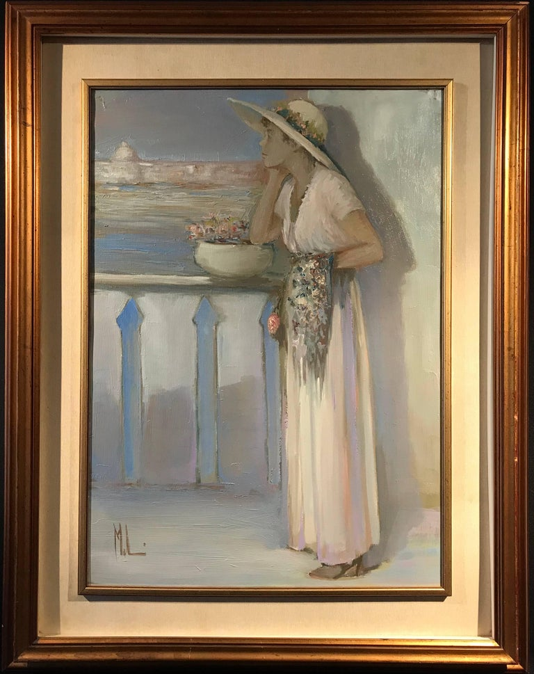 Lady on Venetian Balcony Signed Impressionist Oil Painting - Brown Figurative Painting by Innocenzo Melani