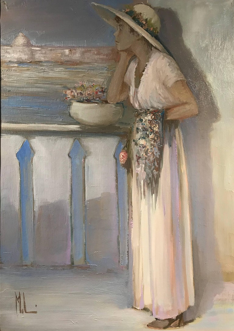 Lady on Venetian Balcony Signed Impressionist Oil Painting 3