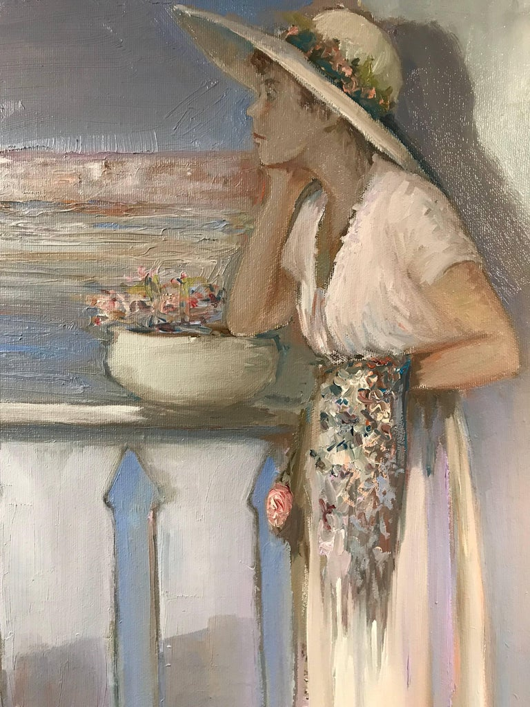 Lady on Venetian Balcony Signed Impressionist Oil Painting For Sale 1