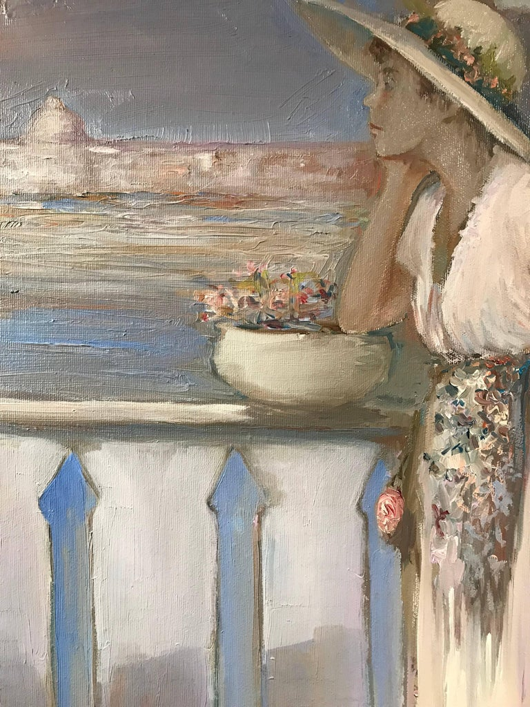 Lady on Venetian Balcony Signed Impressionist Oil Painting For Sale 2