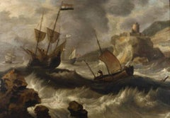 17thC Flemish Old Master Shipping in a Storm