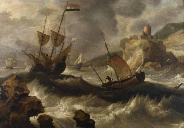 Bonaventura Peeters the Elder Landscape Painting - 17thC Flemish Old Master Shipping in a Storm