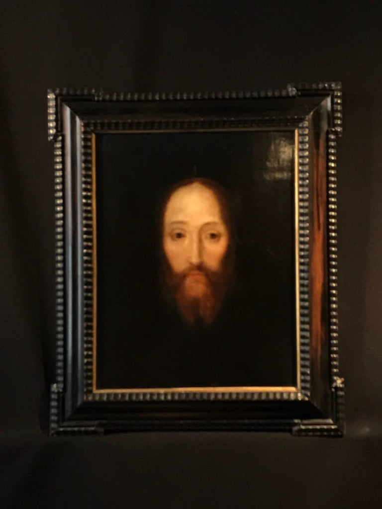 17th Century Flemish Old Master Oil on Oak Panel - Head of Christ - Painting by Flemish School