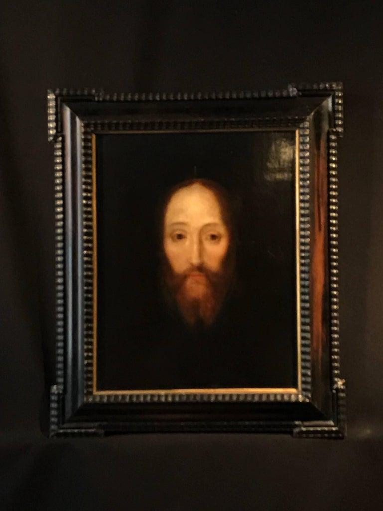 17th Century Flemish Old Master Oil on Oak Panel - Head of Christ 2