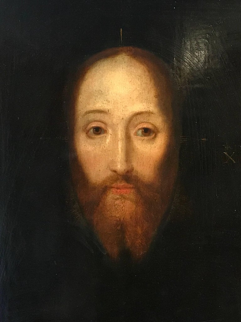 Flemish School Portrait Painting - 17th Century Flemish Old Master Oil on Oak Panel - Head of Christ