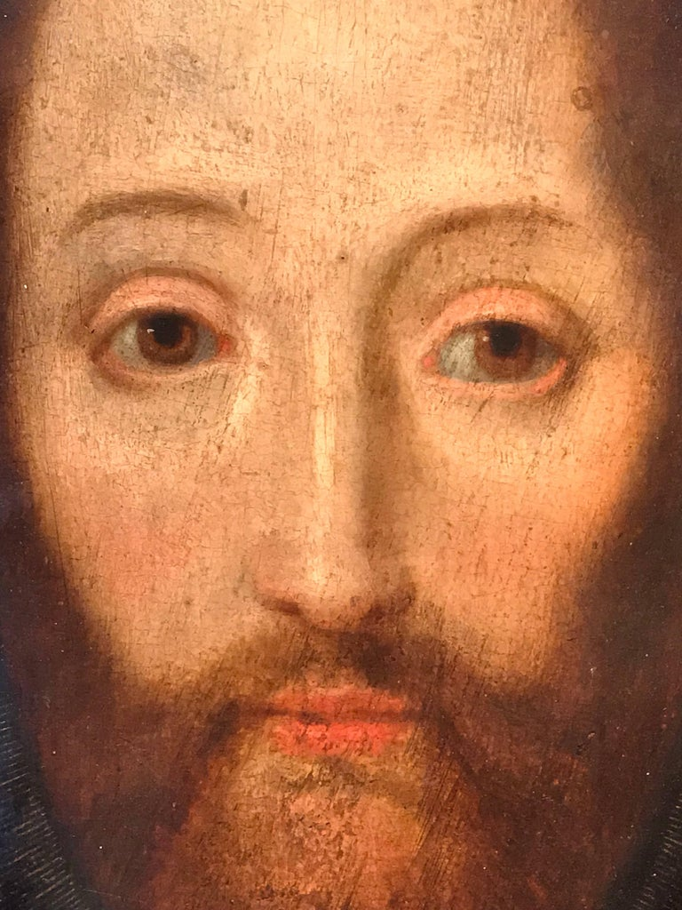 17th Century Flemish Old Master Oil on Oak Panel - Head of Christ - Old Masters Painting by Flemish School
