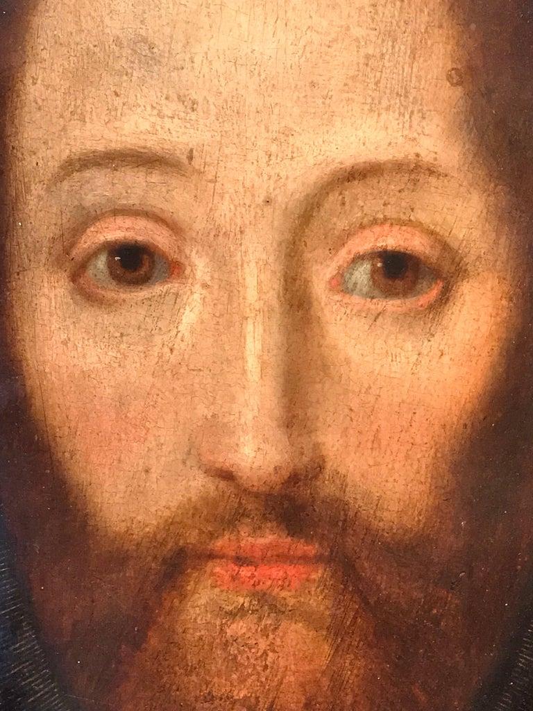 17th Century Flemish Old Master Oil on Oak Panel - Head of Christ 3
