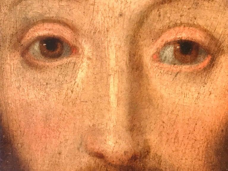 17th Century Flemish Old Master Oil on Oak Panel - Head of Christ 7