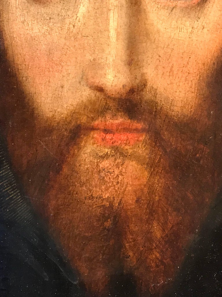17th Century Flemish Old Master Oil on Oak Panel - Head of Christ For Sale 3