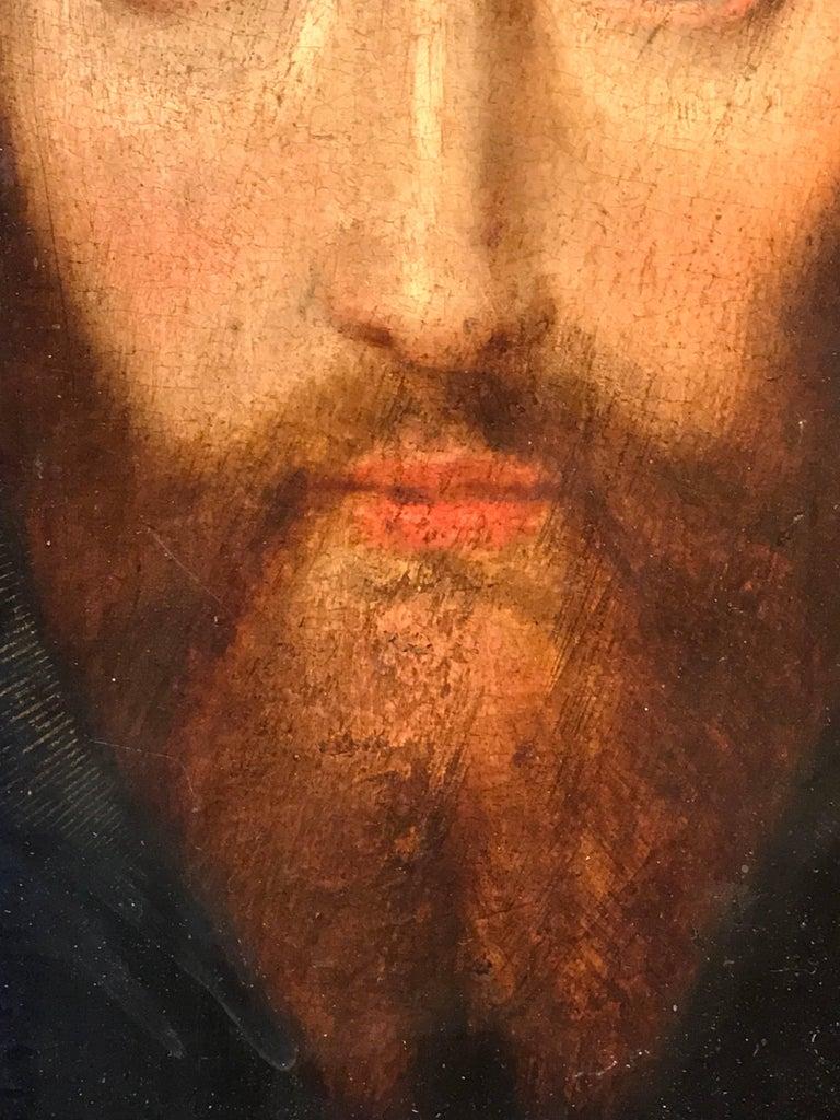 17th Century Flemish Old Master Oil on Oak Panel - Head of Christ 8