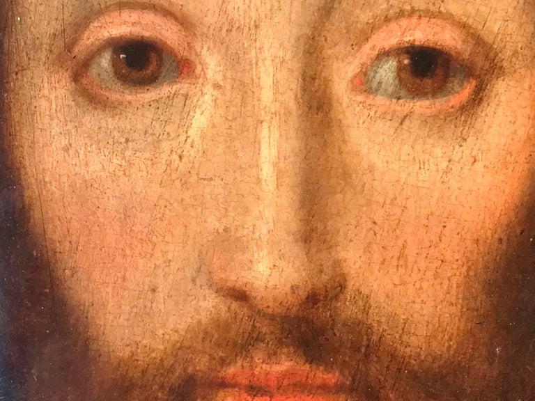 17th Century Flemish Old Master Oil on Oak Panel - Head of Christ 9