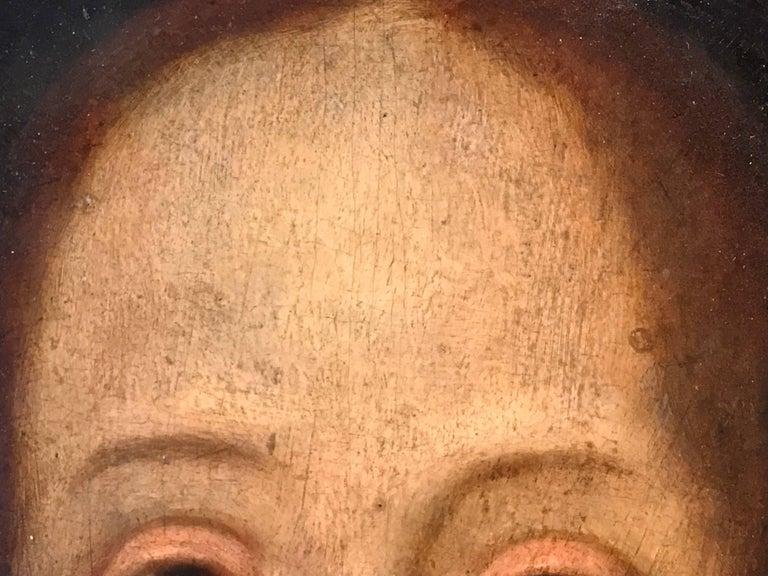 17th Century Flemish Old Master Oil on Oak Panel - Head of Christ 10