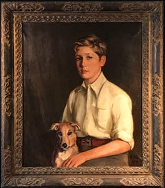 Portrait of Young Gentleman and His Dog, signed oil painting