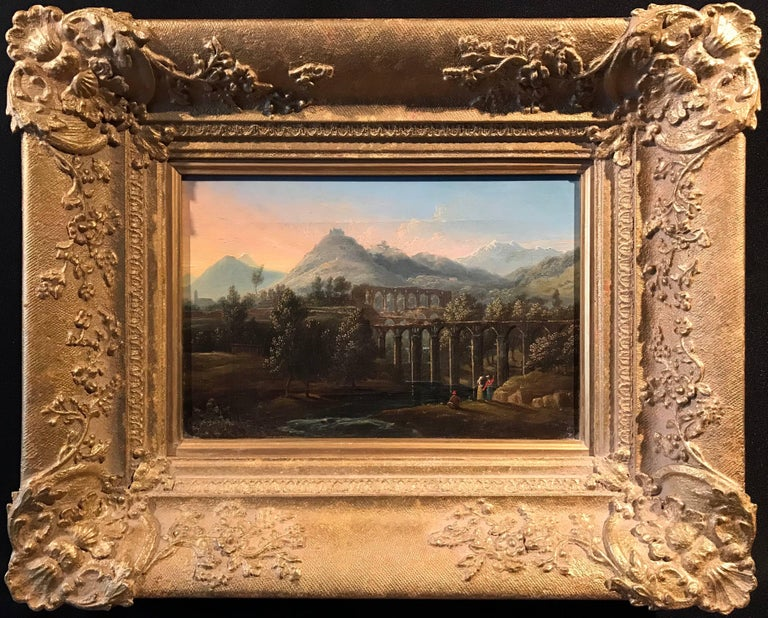 Italian Acqueducts in Arcadian Landscape, oil painting - Painting by Unknown