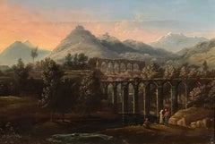 Italian Acqueducts in Arcadian Landscape, oil painting