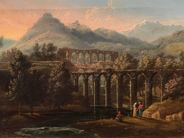 Italian Acqueducts in Arcadian Landscape, oil painting - Old Masters Painting by Unknown