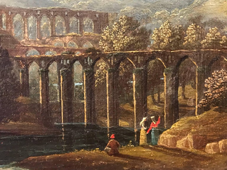 Italian Acqueducts in Arcadian Landscape, oil painting - Black Landscape Painting by Unknown