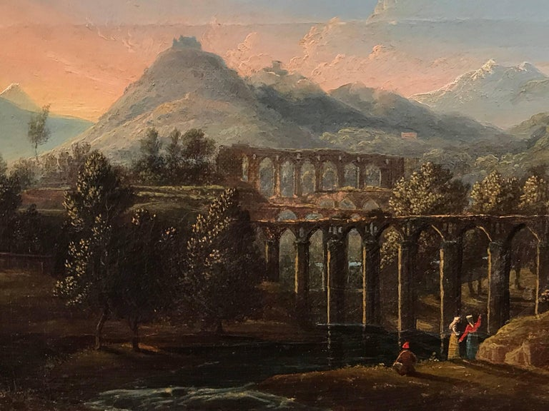 Very fine 18th century Italian Grand Tour oil painting on canvas, depicting travellers in a far reaching Arcadian landscape admiring Roman acueducts.   Painted with delightful quality, with crisp intricate detailing throughout, the painting is