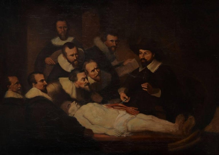 After) Rembrandt van Rijn - The Anatomy Lesson, Antique Oil Painting ...