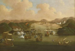 The capture of Porto Bello, 21st November 1739 , large oil painting on canvas