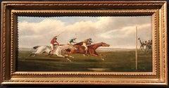 British Horse Racing scene oil on wood panel