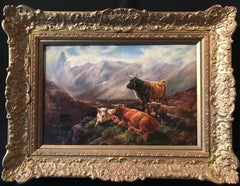 Victorian Oil Highland Cattle in Mountainous Landscape