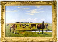 Horses & Cattle Grazing Tranquil Pastures - signed oil painting