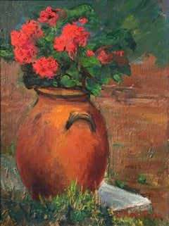 Flowers in Terracotta Pot - French Impressionist Oil Painting