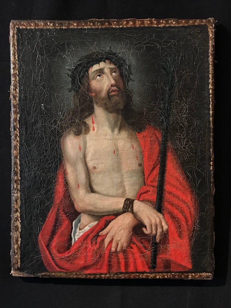 Ecce Homo - Christ with Crown of Thorns oil painting on canvas - Painting by Unknown