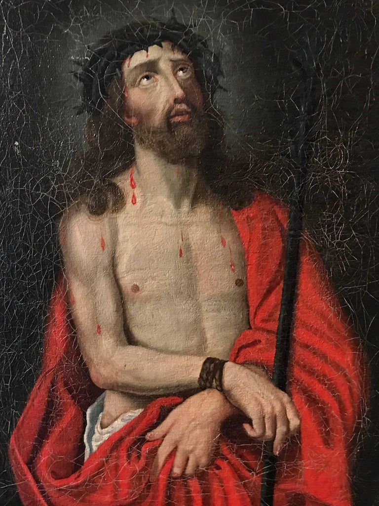 Unknown Portrait Painting - Ecce Homo - Christ with Crown of Thorns oil painting on canvas