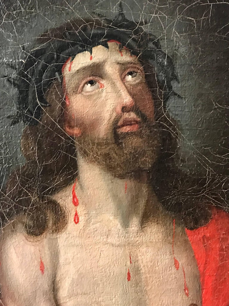Ecce Homo - Christ with Crown of Thorns oil painting on canvas - Old Masters Painting by Unknown