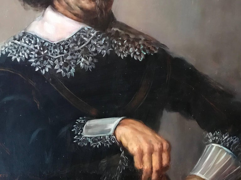 Portrait of a 17th Century Dutch Golden Age Gentleman - Brown Figurative Painting by Unknown