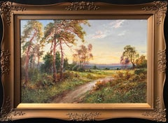 Summer Fields Sunset Landscape signed oil painting on canvas