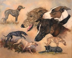 Lurcher Dogs signed oil painting on canvas