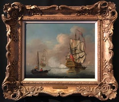 The Evening Salute Fine 18th century English Maritime oil painting on canvas
