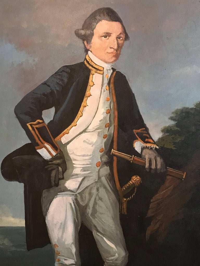 Captain James Cook - Gray Portrait Painting by Unknown