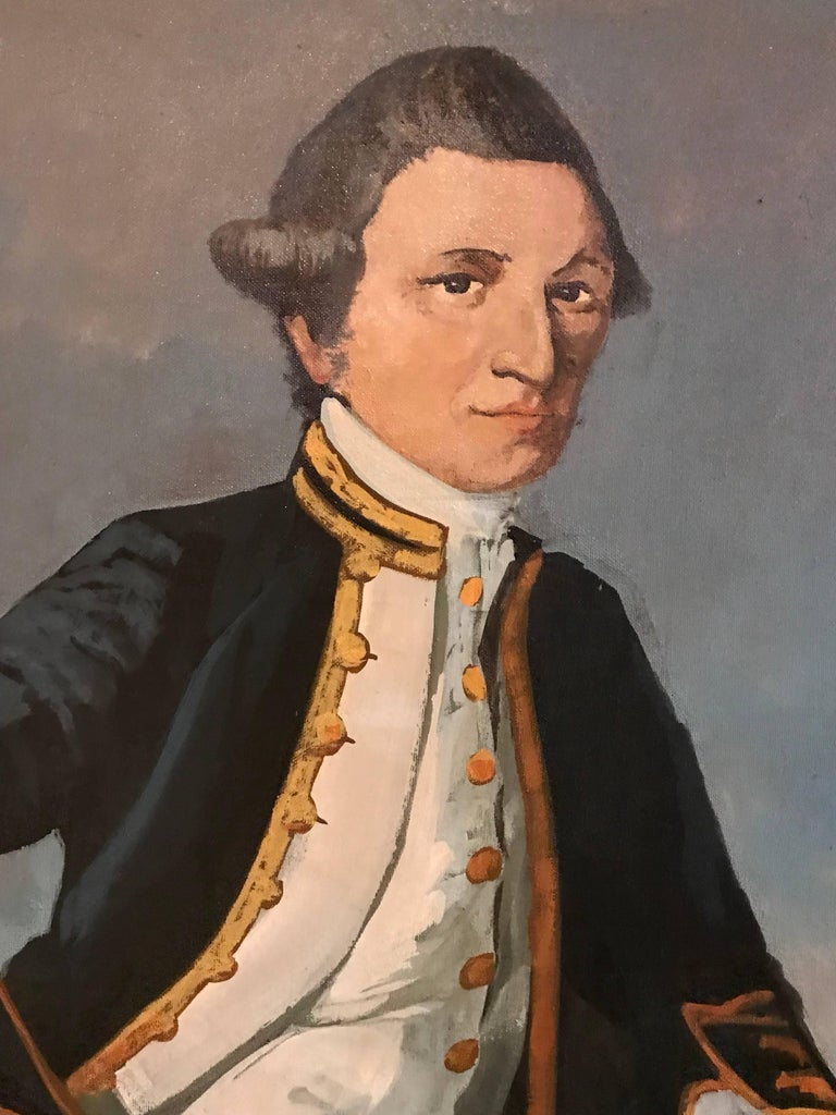 Captain James Cook English School, circa 1970's oil painting on board, framed  framed size: 49.5 x 37 inches  Large scale portrait of the famous 18th century explorer, James Cook. The work is taken from the earlier work by James Webber (c.1752-1793)