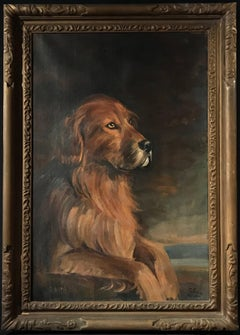 The Favourite Hound, 1920's British Dog Painting