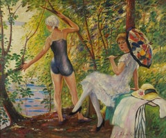 Elegant Ladies Bathing by River, French Impressionist Signed Oil Painting