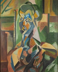 Femme Assise Cubist Portrait after Picasso