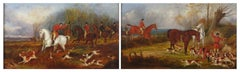 Pair English Hunting Scenes, antique oil paintings on canvas