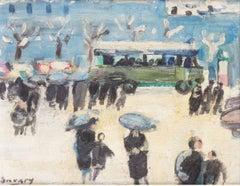 Paris, Passants et Autobus - Signed Post-Impressionist Oil Painting