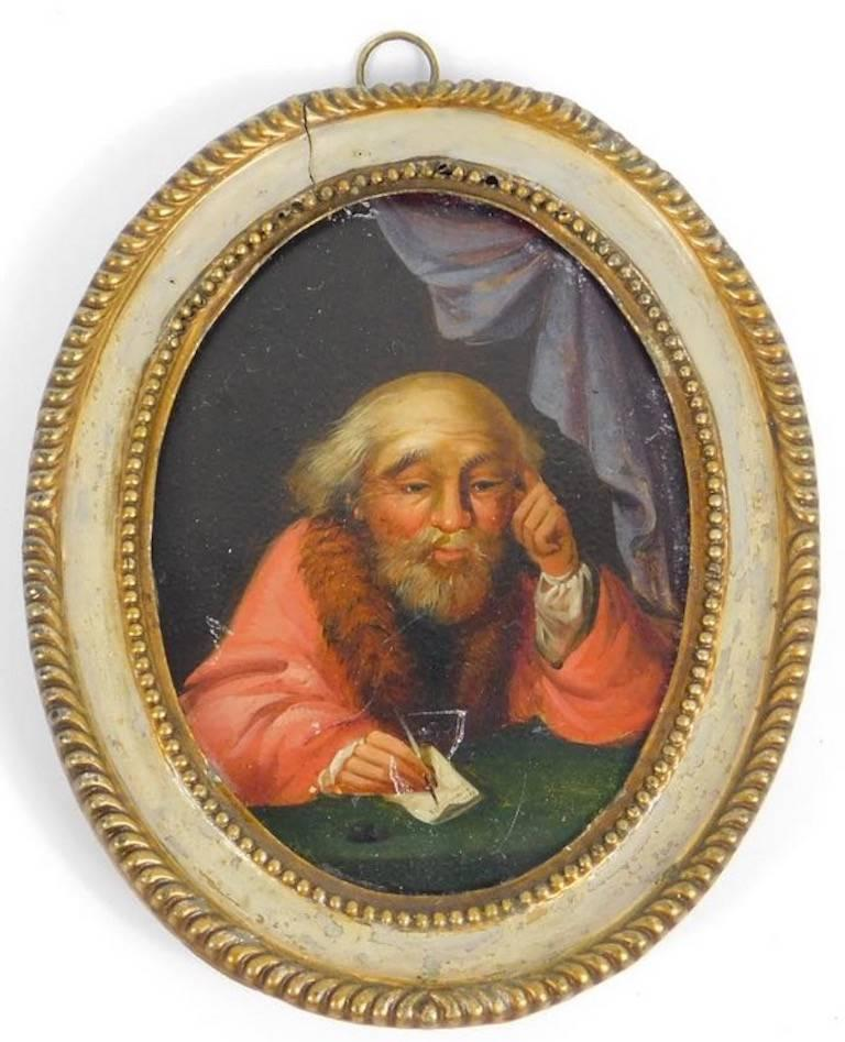 Unknown Figurative Painting - 18thC Portrait Miniature Miser seated at a table with Pen and Paper