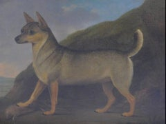 Portrait of Rare Breed Dog, Antique English Oil Painting on canvas