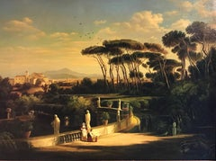Classical Figures Ancient Italianate Landscape, huge oil painting and frame