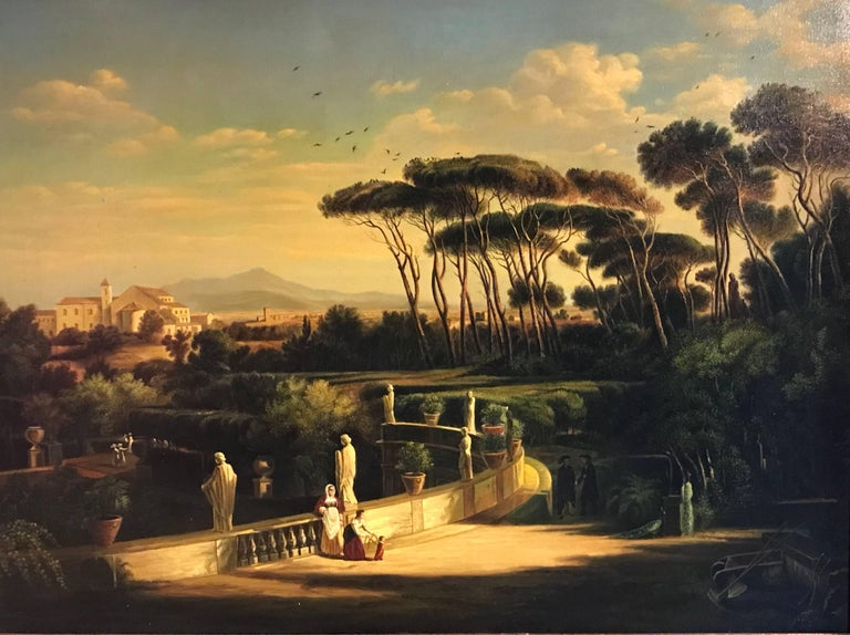 Continental School Landscape Painting - Classical Figures Ancient Italianate Landscape, huge oil painting and frame