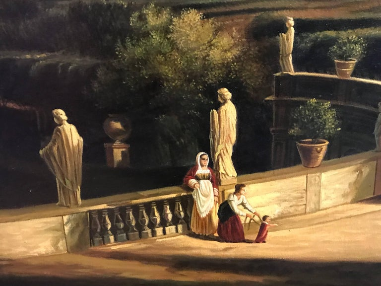 Classical Figures Ancient Italianate Landscape, huge oil painting and frame For Sale 3