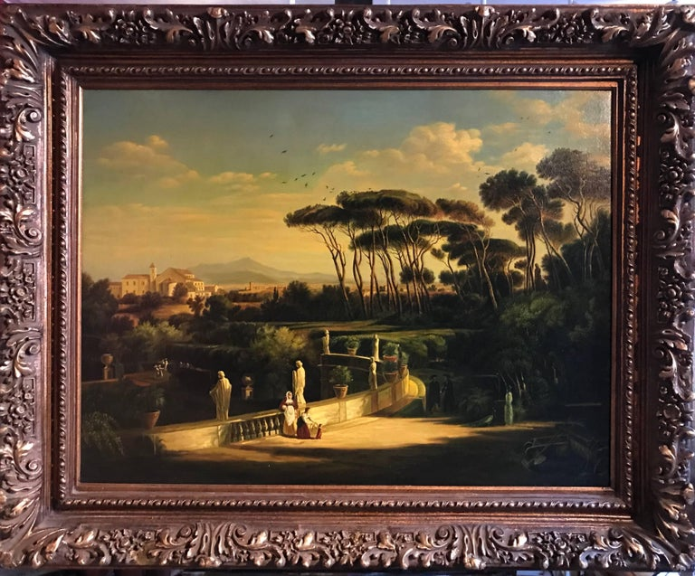 Classical Figures Ancient Italianate Landscape, huge oil painting and frame - Painting by Continental School