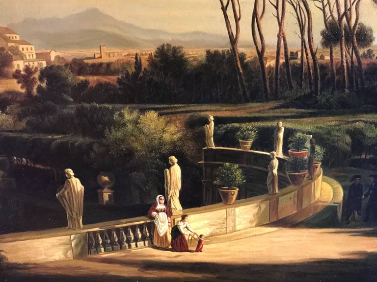 Classical Figures Ancient Italianate Landscape, huge oil painting and frame For Sale 2