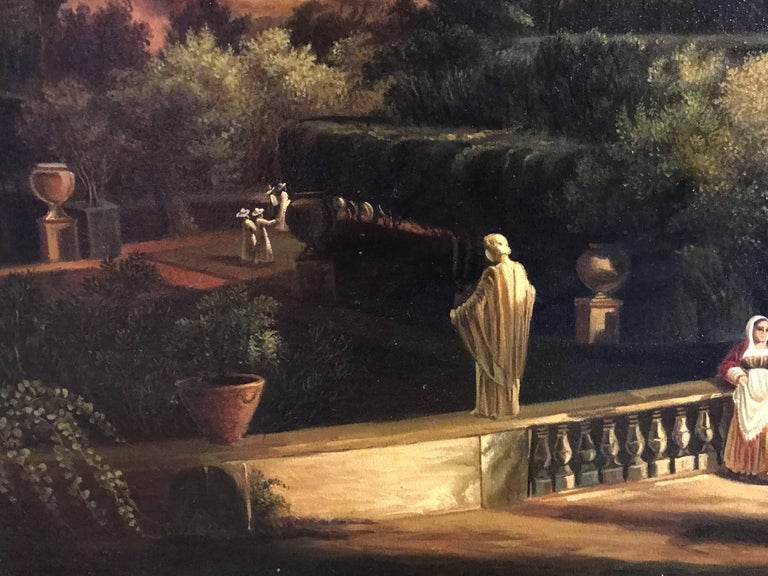 Classical Figures Ancient Italianate Landscape, huge oil painting and frame For Sale 4